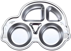 Stainless Steel Plate Divided Meal Tray Sections Dinner Dish for Baby Toddler Kids Eating Food Car Shape BPA-Free Safe Fun Non-Toxic Heavy Duty