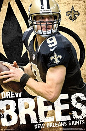 Trends International RP14145 New Orleans Saints Drew Brees Wall Poster, 22.375