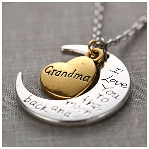 I Love You To The Moon And Back Gold & Silver Family Necklace Pendant HeartMum (GRANDMA) (Grandma Halloween Costume Ideas)