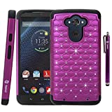 Motorola Droid Turbo Case, Style4U Moto Droid Turbo Studded Rhinestone Crystal Bling Hybrid Armor Case Cover for Motorola Droid Turbo XT1254 with 1 Stylus [Purple / Black]