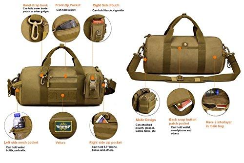 cinmaul Cilindro Barril Bolsa Militar Táctico Messenger Bag gran capacidad bolso de mano, hombre, Desert Camouflage ACU Camouflage