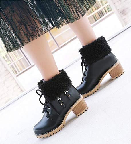 Donna Caviglia Da Nero on Slip Stivali Comfort Dimensione Autunno Martins 34 Tacco In Artificiali Nero Con Hy inverno Spesso colore Stivaletti Moda wXFEqnS