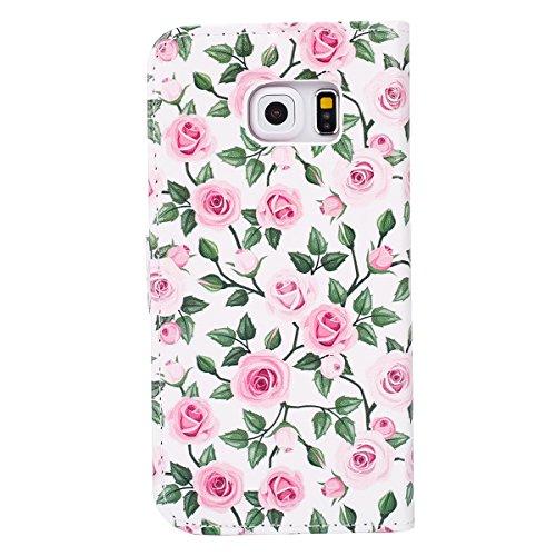 Funda para [Samsung Galaxy S6 Edge] ,ETSUE PU Cuero Cover Case para Samsung Galaxy S6 Edge,Funda de Cuero Pintado de Moda Patrón con la Mariposa Protector de Funda para telefono movil para Samsung Gal romántico Rosa