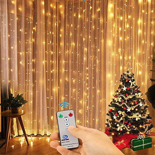 (Kohree Curtain Lights, Wedding Light Remote Control Outdoor Indoor Icicle String Lights for Christmas, Home, Church, Balcony, Holiday, Party Decorations, Warm White, 300 Leds 8 Mode, UL Certified)