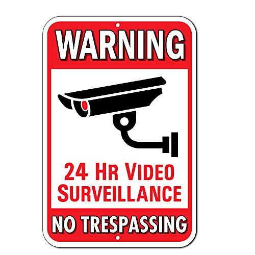 "Warning 24 Hour Video Surveillance No Trespassing Metal Sign - Heavy Duty Aluminum - Security Camera Warning, 1/8""..."