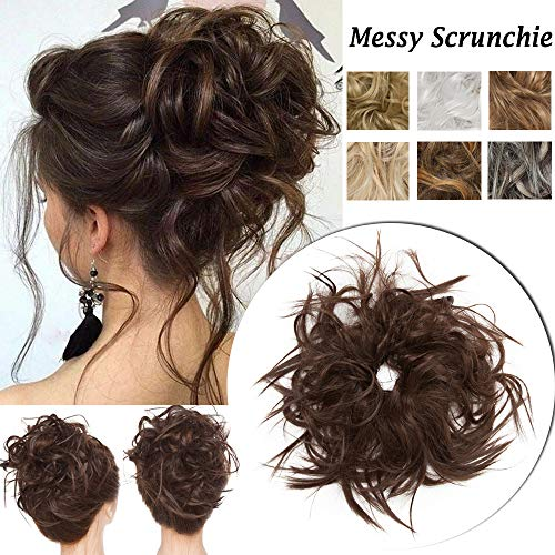 Messy Scrunchie Hair Bun Extension With Elastic Rubber Band Wrap On Fluffy Hair Extensions Updo Chignon Donut Messy Ponytail Hairpiece Tousled Hair Bun Synthetic For Women (Medium Brown)