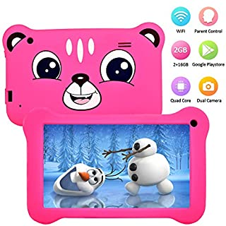 Kids Tablet 7 inch, Android 9.0 Tablet for Kids, 2GB+16GB, Pre-Installed Parent Control IPS HD Display, WiFi Android Tablet, Kid-Proof, Learning Tablet Rose