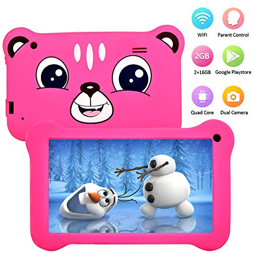 Tablet for Kids, 7 inch Kids Tablet Android 9.0 2GB +16 GB Learning Tablet with IPS Eye Protection Screen Dual Cameras WiFi GMS Certified Kids-Proof Children Tablets Parent Control (Rose)