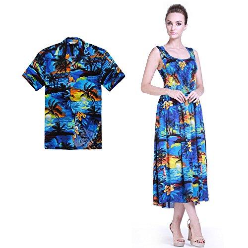 Couple Matching Hawaiian Luau Aloha Shirt Maxi Tank Dress in SunBlue XL