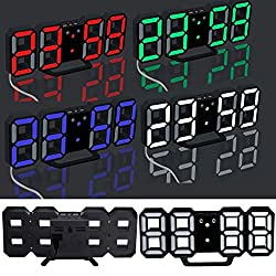 MOONHOUSE Luminous Modern Digital LED Table Desk Night Wall Clock Alarm Watch- 24 or 12 Hour Display-Easy to Set-Great Gift (Purple)
