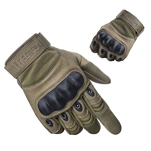 "FREETOO Tactical Gloves Military Rubber Hard Knuckle Outdoor Gloves (Tan Full Finger, M:8.5""-9"" Circumference Finger Length:3.2"")"