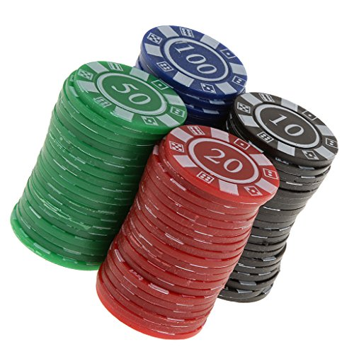 【ノーブランド品】 全4パタン プラスチック製 ポーカーチップ  パーティー おもちゃ 飾り 赤 緑 青 (黒あるいは黄)  - #4