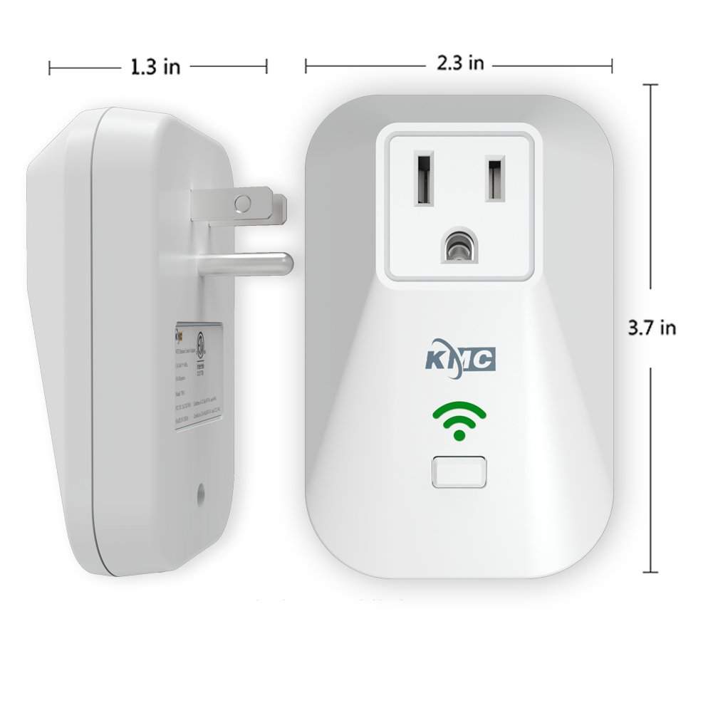 No Hub Required KMC 2 Pack WiFi Smart Plug Mini Outlet with Energy Monitoring and Timer Switch Remote Control Light Switch Compatible with Alexa Echo and Google Assistant