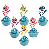 24 PCS Shark Cupcake Toppers Shark Theme Party Supplies- Shark Family Baby Shower Birthday Party Decorations