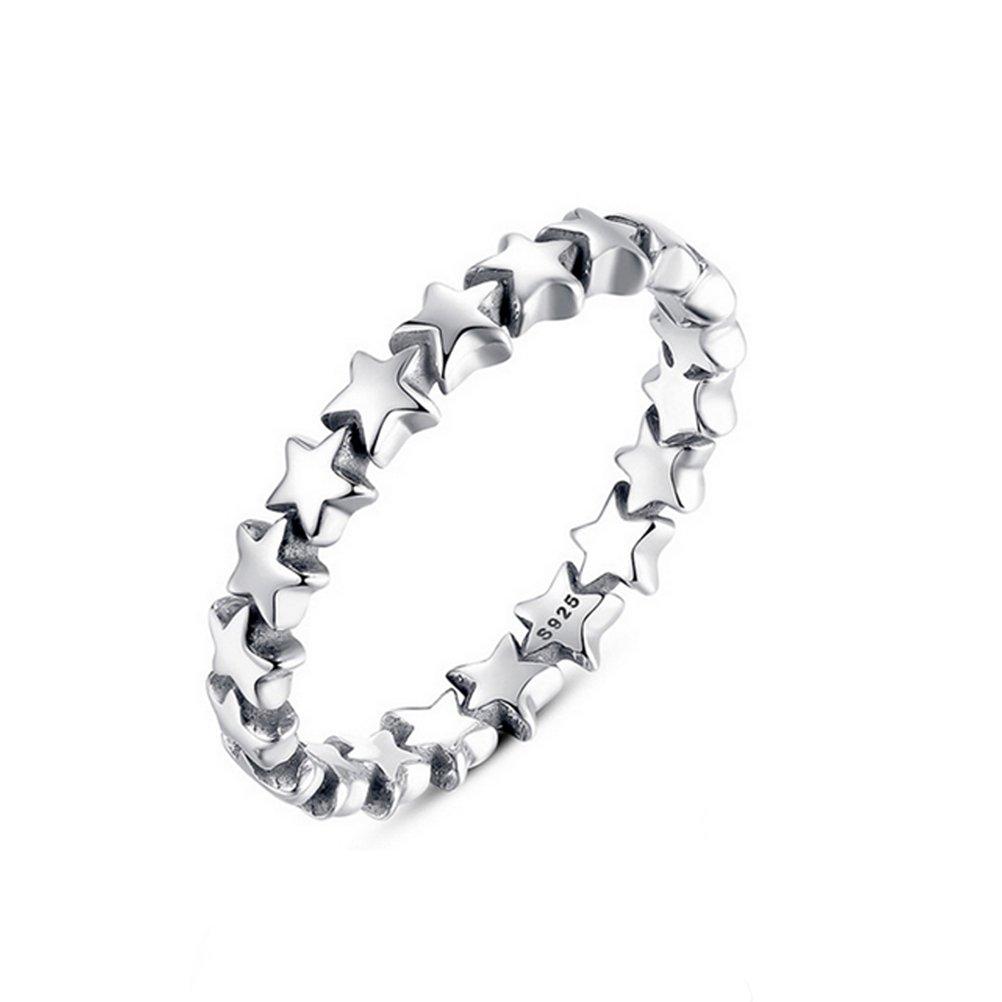 BESTOYARD Anello donna argento placcatura gioielli Pentagram Star Trail impilabile cielo stellato anello per la festa nuziale - Taglia 6 (Argento)