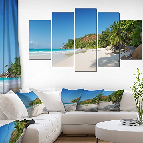 Designart ANSE Georgette Beach Light Large Seascape Art Canvas Print-60x32 5 Piece, 60x32-5 Panels Diamond Shape, -