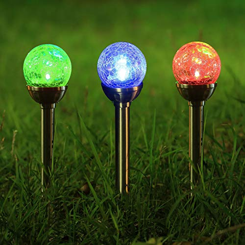 Twinkle Star Solar Pathway Lights Crackle Glass Globe Solar Lights Outdoor Color Changing Stainless Steel Solar Garden Lights, Set of 3 (Garden Set Light)