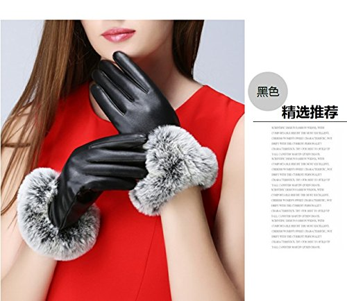 Generic new_warm_ winter leather glove gloves women girls _Outdoor_Cycling_is plush_rabbit hair lip-touch_screen_phone_ glove gloves