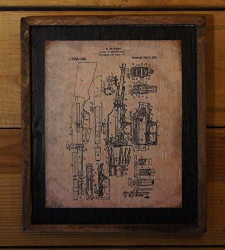 Vintage 1919 Browning BAR Semi-Automatic Rifle Patent Print - Wooden Sign