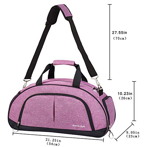 Sports Gym Bag with Wet Pocket & Shoes Compartment Travel Duffel bag for Women & Men(Purple)