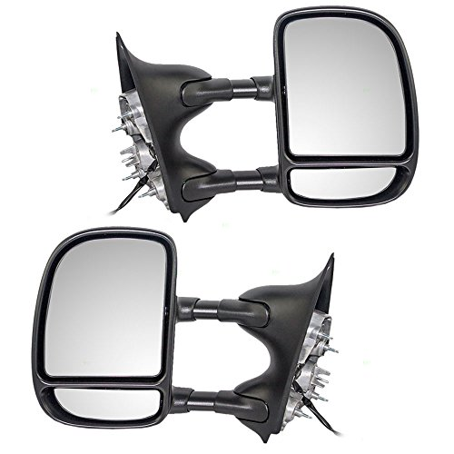 Telescopic Tow Power Side View Mirror with Dual Arms Driver and Passenger Replacements for Ford Super Duty Pickup Truck Excursion SUV 3C3Z 17683 DAAA