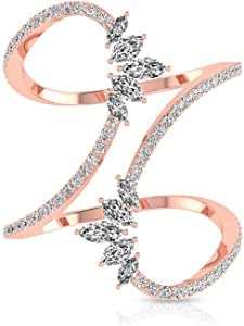 0.93 CT Marquise Round IGI Certified Diamond Cluster Wrap Ring, Unique IJ-SI Diamond Crown Adjustable Wedding Rings, Minimal Women Stackable Ring Sets