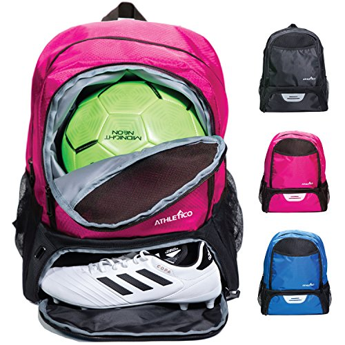 Athletico Youth Soccer Bag - Soccer Backpack & Bags for Basketball, Volleyball & Football | for Kids, Youth, Boys, Girls | Includes Separate Cleat and Ball Compartments (Pink)