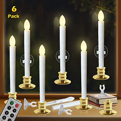 Window Candles with Remote Timers Battery Operated Flickering Flameless Led Electric Candle Lights with 6pcs Gold Base and 6pcs Suction Cups Taper Candle Holder for Christmas Decorations