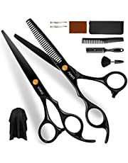 Viwu Barber Shears Home Hair Cutting Scissors Set, 10 Pcs Professional Haircut Scissors Kit with Thinning Shears 6CR 440C Stainless Steel Home Haircutting Scissors Kit for Barber Salon