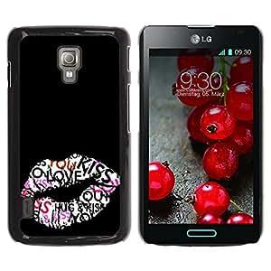 For LG Optimus L7 II P710 / L7X P714 Case , Kiss Hug Lips Sexy Honey Black - Diseño Patrón Teléfono Caso Cubierta Case Bumper Duro Protección Case Cover Funda