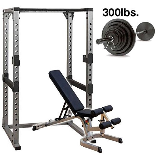 Body Solid GPR378 Power Rack with Heavy GFID71 Bench, 300lb. Weight Set by Body-Solid