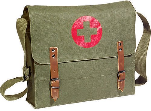 [Vintage Shoulder Medic Bag (Olive Drab NATO Red Cross)] (Army Medic Costumes)