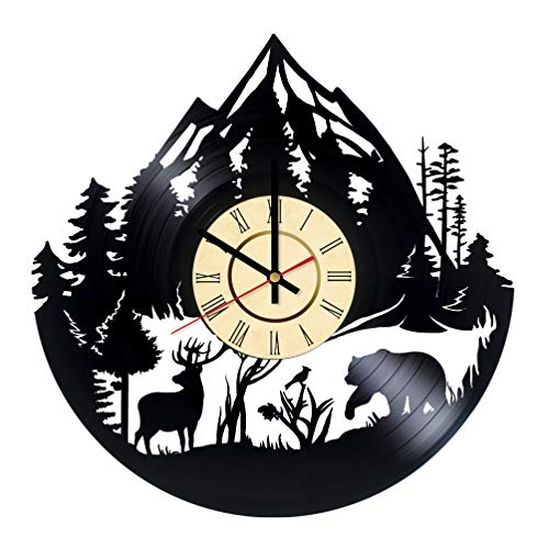 Wild Forest Animal Vinyl Clock Gift for Nature Lovers Mountain National Park Deer Wall Decor Bear Wall Art Home and Living Room