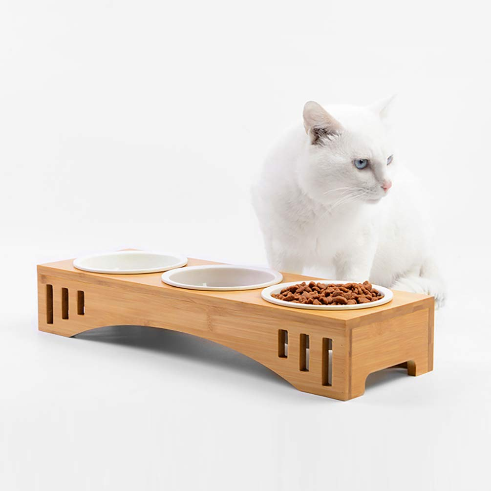 Petacc Elevated Dog Cat Bowls Raised Pet Bowls Cat Feeders, Food and Water Bowls with Bamboo Holder and 3 Melamine Bowls for Cats and Small Dogs by Petacc