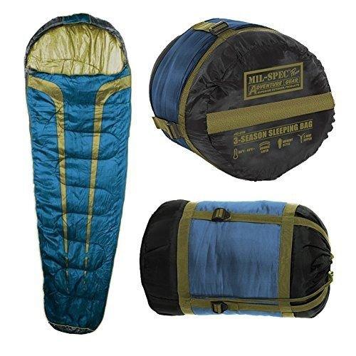 Mil-Spec Adventure Gear Plus Mt. Timp 3 Season Sleeping Bag, Blue