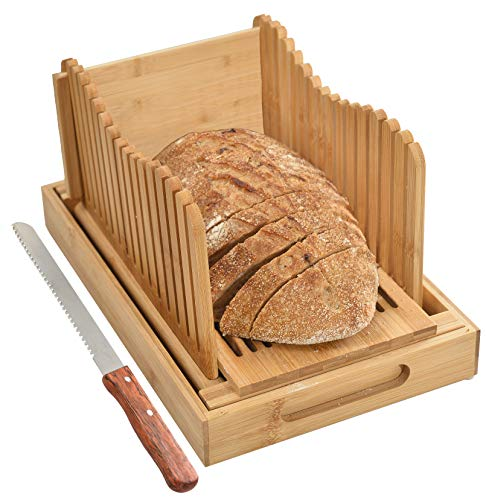 BambooSong Bamboo Bread Slicer with Crumb Tray Bamboo Bread Cutter for Homemade Bread, Loaf Cakes, Bagels Slicer, 3 Slice Sizes, Adjustable, Compact, Foldable