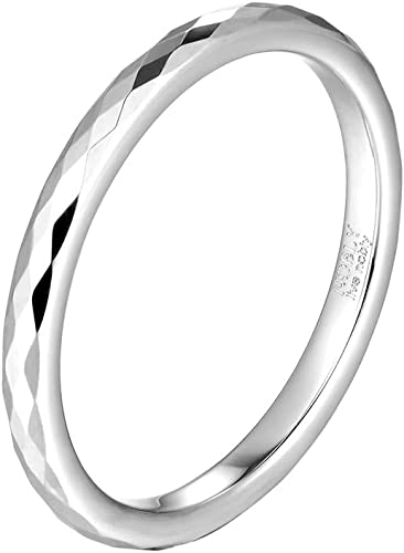 Three Keys Jewelry 8mm Black White Tungsten Wedding Ring Multi Facet Wedding Band Engagement Ring for Men Women