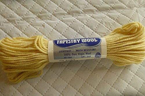 Bucilla Light Yellow (Custard) Ever Match 100% Pure Virgin Wool Tapestry Yarn - 40 Yards (Hat Tapestry)