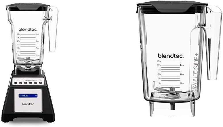 Blendtec Total Classic Original Blender - Fourside Jar (75 oz), Black & WildSide+ Jar (90 oz volume/36 oz Wet/Dry Fillable) - Five Sided - Professional-Grade Blender Jar - Clear