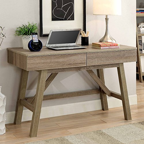 Linon Tracey Rectangular Desk with 2 Drawer - Gray