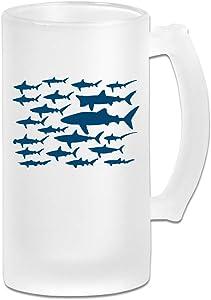 Mako Shark Clipart Frosted Glass Stein Beer Mug - Personalized Custom Pub Mug - 16 Oz Beverage Mug - Gift For Your Favorite Beer Drinker