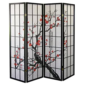 ORE International Black 4 Panel Plum Blossom Screen Room Divider