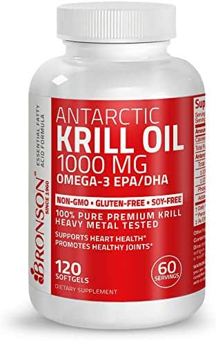 Bronson Krill Oil 1000 mg with Omega-3s Astaxanthin EPA DHA, 120 Softgels