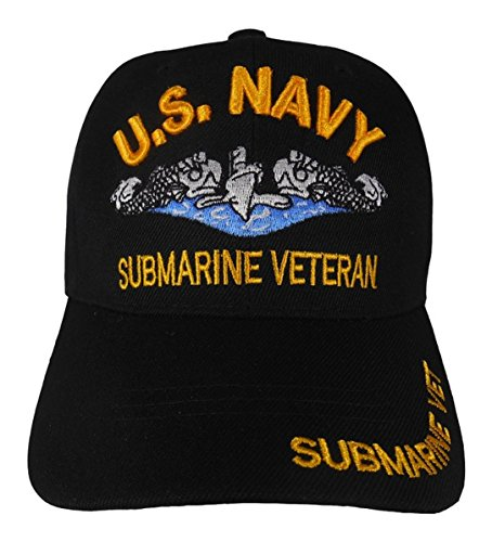 United States Navy Veteran Hat Baseball Cap (Black - Submarine)