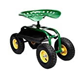 Rolling Garden Cart Work Seat With Heavy Duty Tool Tray Gardening Planting Green Useful product For Sale