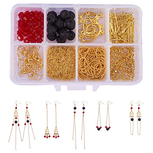 - SUNNYCLUE 1 Box DIY 10 Pairs Golden Natural Lava Stone Jewelry Making Kits Rock Long Chain Tassel Dangle Drop Earring Making Starter Kit for Beginners