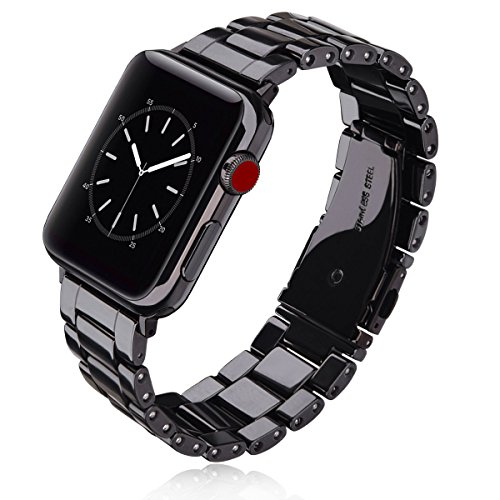 for Apple Watch Bands 38mm Men Women - V-MORO Luxury Handmade Ceramic iWatch Band Bracelet With Black Stainless Steel Buckle Strap Replacement for Apple Watch Series 3/2/1 Sport Edition (Black, ()