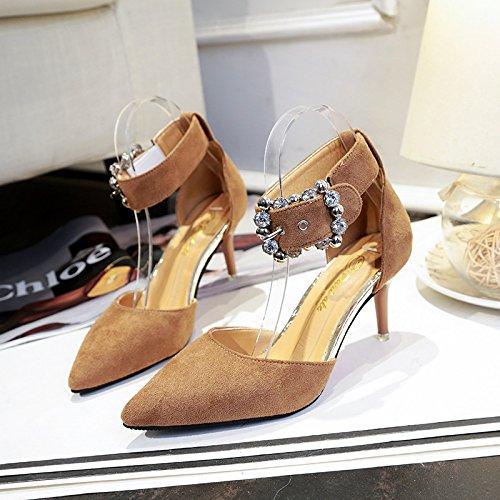la fibbia fine marrone scarpe ed 34 con elegante Singoli punta Donne Y7nXqX