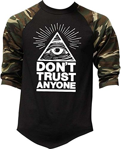 Men's Don't Trust Anyone Illuminati Eye Tee Black/Camo Raglan Baseball T-Shirt X-Large Black/Camo