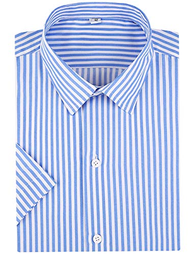 DOKKIA Men's Business Short Sleeve Vertical Striped Dress Shirts (Light Blue White, Large)